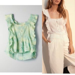 Wilfred Delacroix top sz xs green/yellow NEW